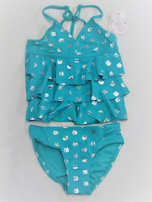 NWT Justice Kid Girls Size 6 7 8 Teal Foil Kitty Cat Ruffle Tankini Bathing Suit
