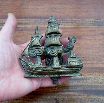 Reclaimed Antique Brass Ships Galleon Door Knocker -  Seaside Cottage / House