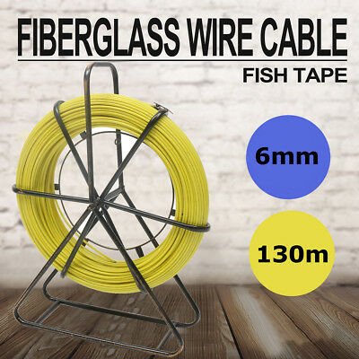 6mm X 130m Fish Tape Fiberglass Wire Cable Puller Kit Running Rod Wheel Stand