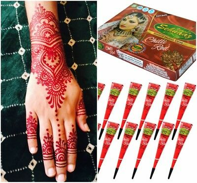 12 pcs Golecha Red Chili Henna Cones latest batch 2018 Uk Stockiest