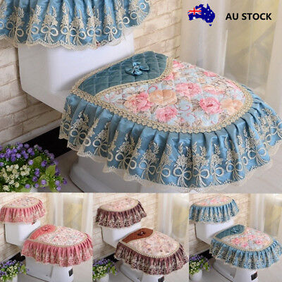 Toilet Cover Seat Tank Cover Sets 3pcs Lace Home Bathroom Decoration Soft Smooth