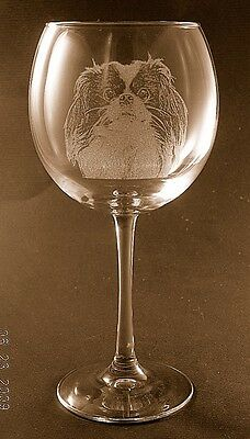 New Etched Japanese Chin on Large Elegant Wine Glasses