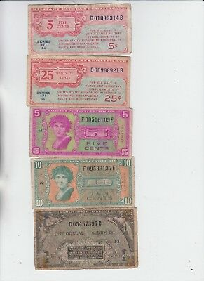 Military Payment Certificates Group of 5 notes low grade and up