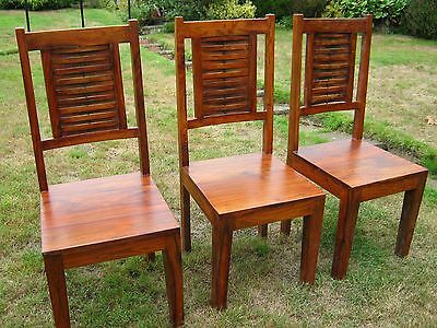 Set of 3 High Back Hardwood Dining Chairs
