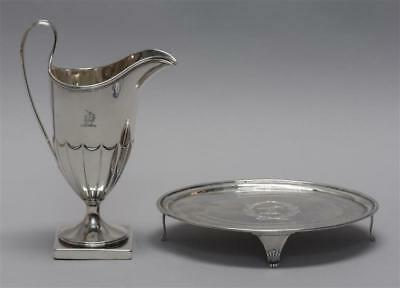 TWO PIECES OF GEORGE III STERLING SILVER 1) Helmet-form creamer. 1786... Lot 173