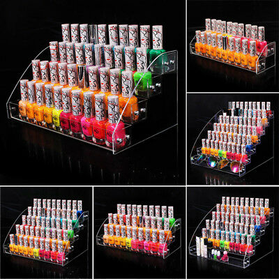7 pcrs Nail Polish Acrylic Clear Makeup Display Stand Rack Organizer Holder 3*3
