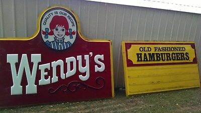 Wendy's Hamburgers signs-two