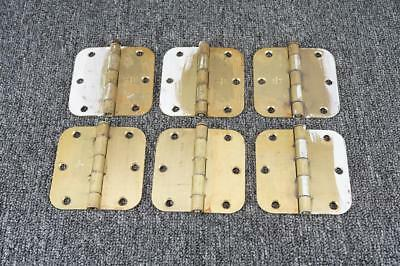 "Vintage Lot Of 6 Lawrence Bros. SC2558 Nickel Hinges 3 1/2"" X 3 1/2"" Rounded"