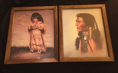 2 Vintage Framed Poster Prints By I GARCIA NATIVE AMERICAN INDIANS CHIEF & CHILD