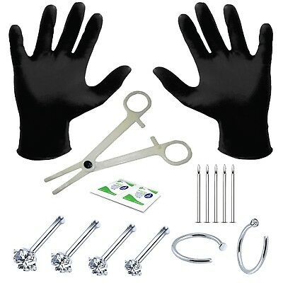 Professional Body Piercing Kit 15 Pieces for Nose Ring Bone Studs 20 Gauge 0.8mm