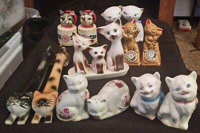Lot of 7 sets (14 pcs) Vintage Cat Collection Salt & Pepper Shakers
