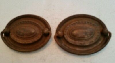 Pair Matching  Old Vintage  Antique Oval Metal  Drawer Pulls Handles  (79Ha)