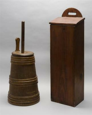 TWO WOOD ITEMS A butter churn in brown paint with dasher, height ove... Lot 1068