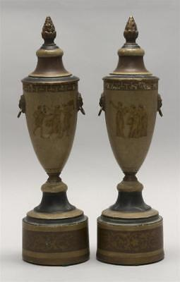 PAIR OF TOLEWARE URNS With classical figural decoration. Lion's-head ... Lot 655