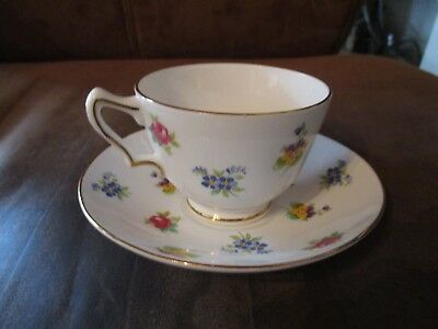 Floral  Cup &saucer Bone China Est. 1801Crown Stafford Shire, Eng