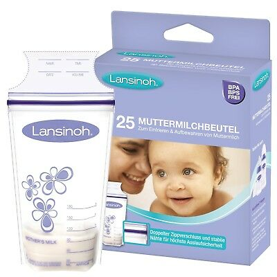 Storage Milk Bags Lansinoh Breastmilk Pouches Zip Closure 180 ml 25/50 Bags