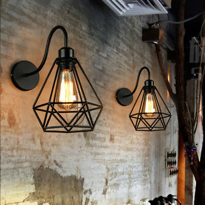 Industrial Wall Sconce Light Lamp Wrought Iron Diamond Shape Metal Cage Frame