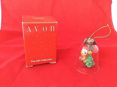 Avon Christmas Charm Bell Ornament Chipmunk Tree Clear Gift Collection