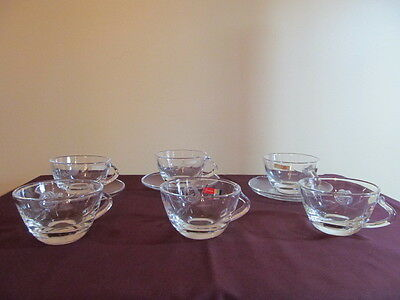 Fostoria Etched Glass Rose Set of Six Cups and Three Saucers MINT