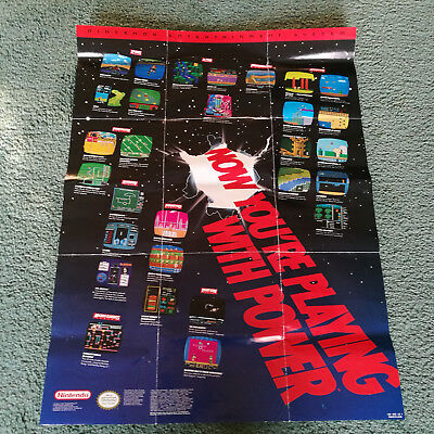 Nintendo Now You're Playing With Power Poster Fold Out NES HW-NES-US-1 8 bit