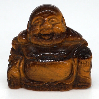 1.5 Inch Carved Tiger Eye Happy Laughing Buddha Figurine Luck Natural Gemstone