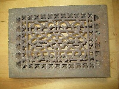 "Ornate Eastlake Floor Grate Vent - Louvers Work - 12"" x 8"" insert dimensions"