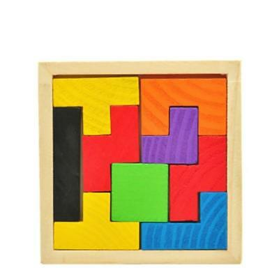 Wooden Tetris Game Educational Jigsaw Puzzle Tangram Brain-Teaser Kids Toys J