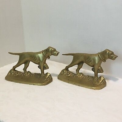 Vintage Solid Brass Hunting Dogs English Pointer Bookends Door Stops