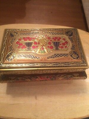 Vintage Old Art Decorated Metal Jewelry Box