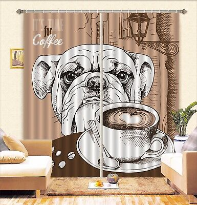 3D Dog Coffee 62 Blockout Photo Curtain Printing Drapes Fabric Window CA Carly