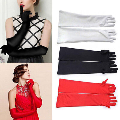 Fashion Opera Wedding Bridal Long Satin Gloves Evening Party Prom Costume Gloves