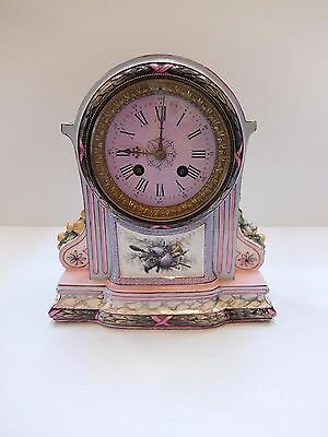 LARGE ANTIQUE FRENCH PINK PORCELAIN AND ENAMEL 8 DAY CHIMING CLOCK (Watch video)