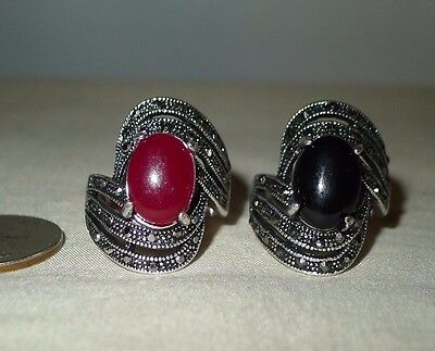 Red or Black Ring Size 9 Medieval Style Vintage Bohemia Antique Silver Plated