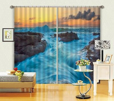 3D Dusk River 62 Blockout Photo Curtain Printing Drapes Fabric Window CA Carly