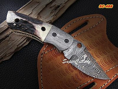 Hand Made Crafted Damascus Steel Pocket Folding Knife- Stag Horn Handle