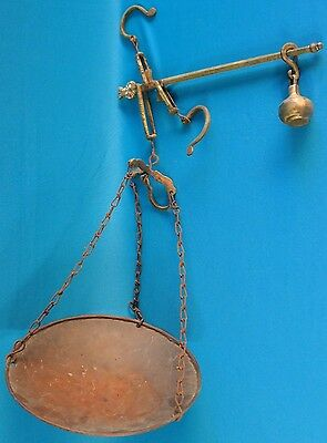 Antique Brass Hanging Balance Scale w/ Copper Pan