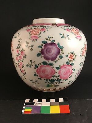 REPUBLIC PERIOD CHINESE FAMILLE ROSE PORCELAIN POTTERY JAR Flower Blossoms