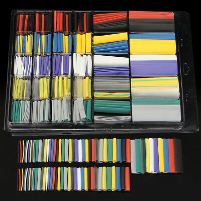 Assortment 500Pcs 2:1 Heat Shrink Tubing Tube Cable Sleeving Wrap Wire Kit Box