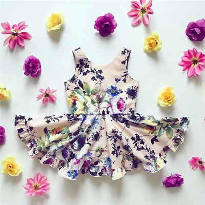 Toddler Kid Baby Girls Floral Romper Pageant Dress Bodysuit Jumpsuit Outfits Set