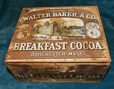 Rare Antique/primitive Wood Walter Baker 1780 Breakfast Cocoa Box Original Label