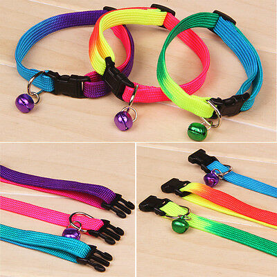 Reflective Adjustable Small Bell Pet Dog Puppy Cat Collar Tag Neck Strap B4A