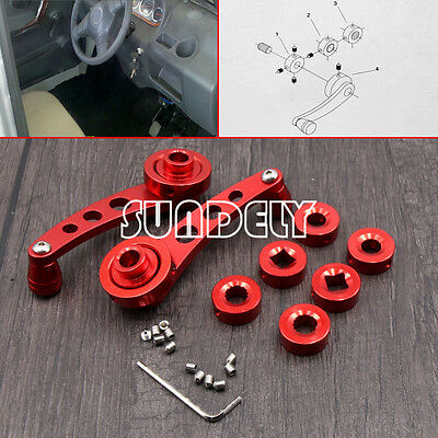 Universal Car Auto Window Winder Kit Crank Door Glass Handle Aluminium Red 2x