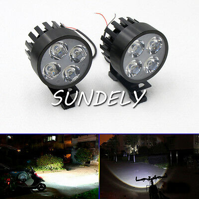 Black 12V-85V Electric Motorcycle LED Headlight Driving Fog Spot Work Light Lamp