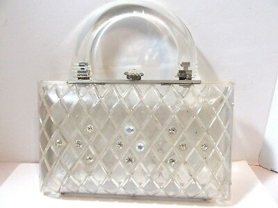 Vintage Carved Lucite Handbag Purse Rhinestone Accents Clear 1960S