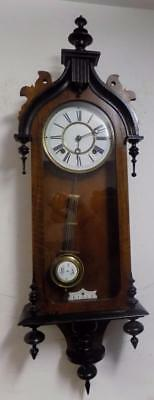 gothic styled walnut and ebonised vienna wall clock