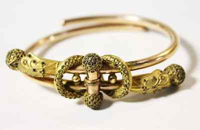 Matching Pair Antique Victorian Etruscan Bracelets Hinged Closed Gold Work