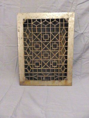 Antique Cast Iron Floor Heat Grate Register Geometric Vintage 16x12 681-17P