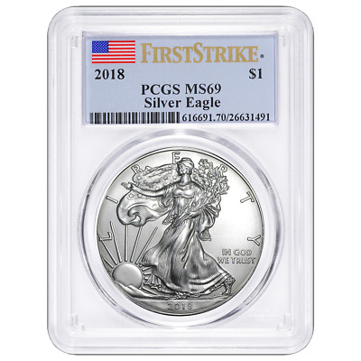 2018 $1 American Silver Eagle PCGS MS69 First Strike Label