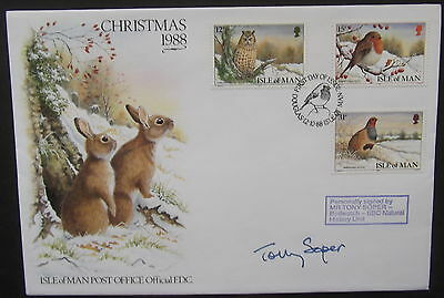 Isle of Man Christmas 1988 First Day Cover Autographed by Tony Soper 1 of 20