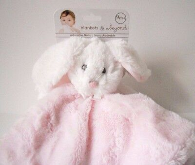 Blankets & and Beyond White Bunny Pink Security Blanket Baby Lovey Nunu New NWT